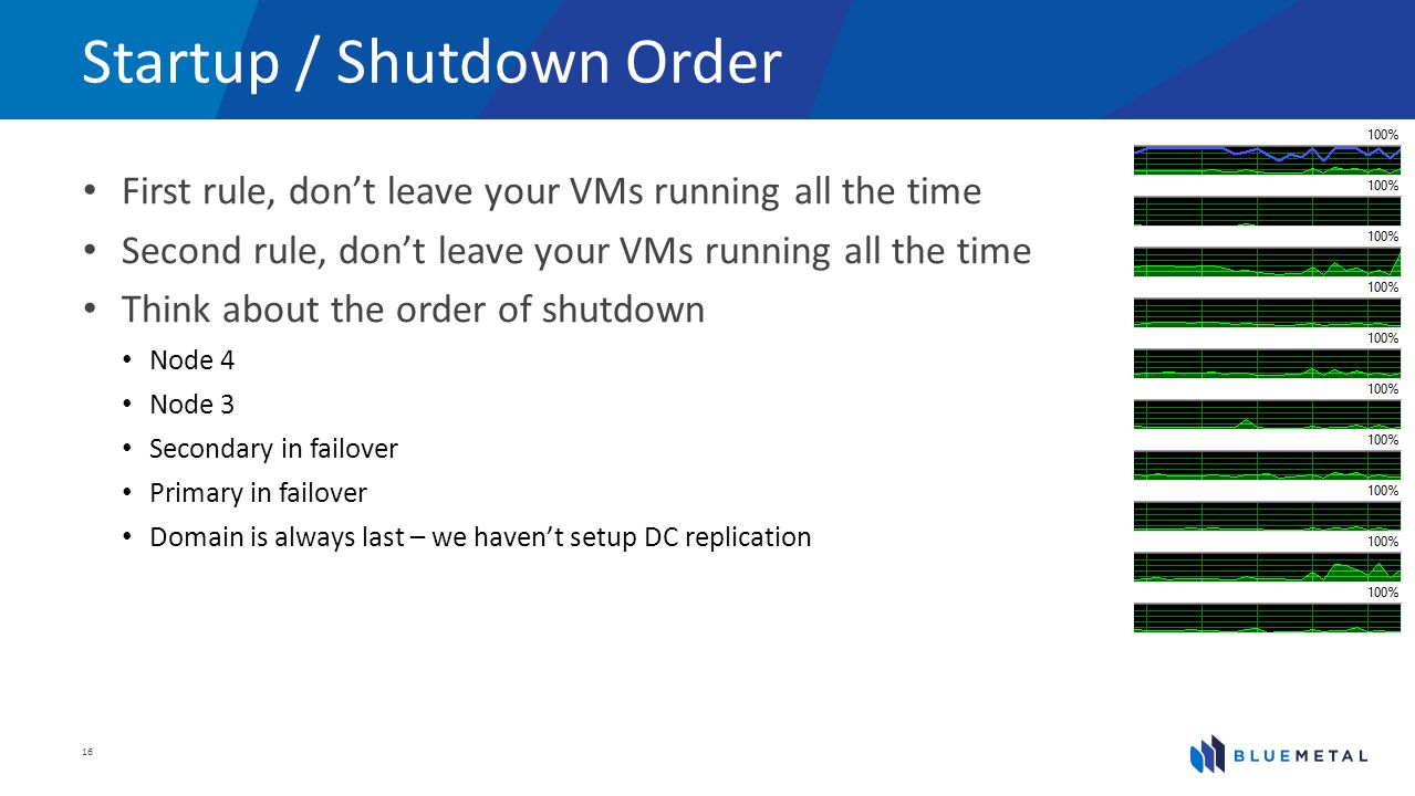 Startup / Shutdown Order First rule, dont leave your VMs running all the time Second rule, dont leave your VMs running all the time Think about the order of shutdown Node 4 Node 3 Secondary in failover Primary in failover Domain is always last – we havent setup DC replication 16