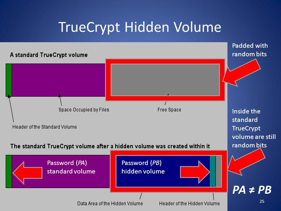 TrueCrypt Hidden Volume Padded with random bits Inside the standard TrueCrypt volume are still random bits Password (PA) standard volume Password (PB)