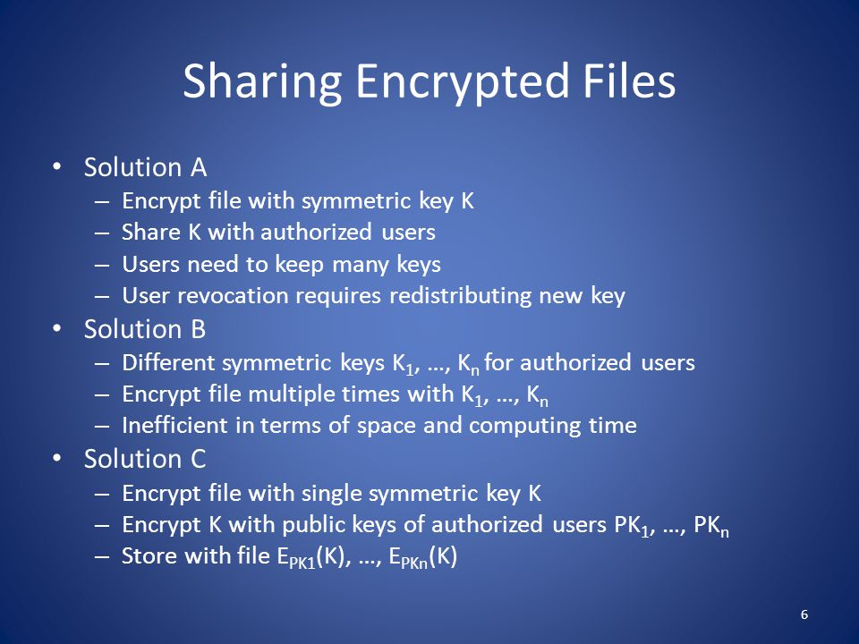 Encrypting File System (EFS) Available in Windows since Windows 2000 Features – Work transparently by providing automatic encryption/decryption of files in specified folders – Protects file content but not file name and other metadata – Supports sharing of encrypted files – Keys unlocked on successful user login – Latest version uses RSA, SHA-256, and AES Issues – Protection only local to file system File copied to another file system is decrypted Email attachment sent decrypted – File content may be leaked to unprotected temporary files – Key management is cumbersome 7