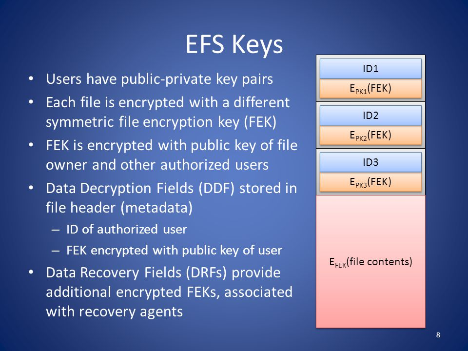 Working with EFS Initial encryption – File encrypted when created or EFS initialized – DDF of file owner created and added to file header Adding new authorized user – DDF of new user created and added to file header – Any authorized user can add other users Removing authorized user – DDF of revoked user removed from file header – File should be re-encrypted with new FEK, but is not … 9