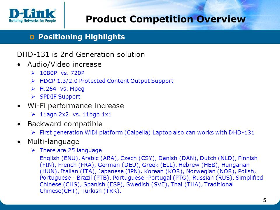 5 Product Competition Overview o Positioning Highlights DHD-131 is 2nd Generation solution Audio/Video increase 1080P vs. 720P HDCP 1.3/2.0 Protected