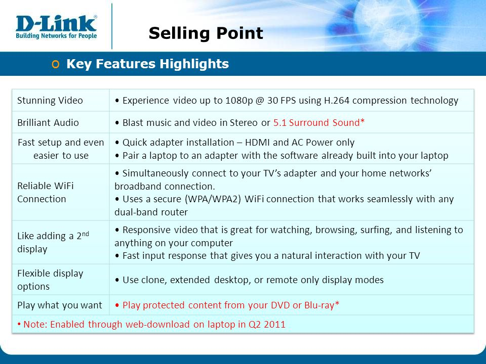 IPv6 Selling Point o Key Features Highlights