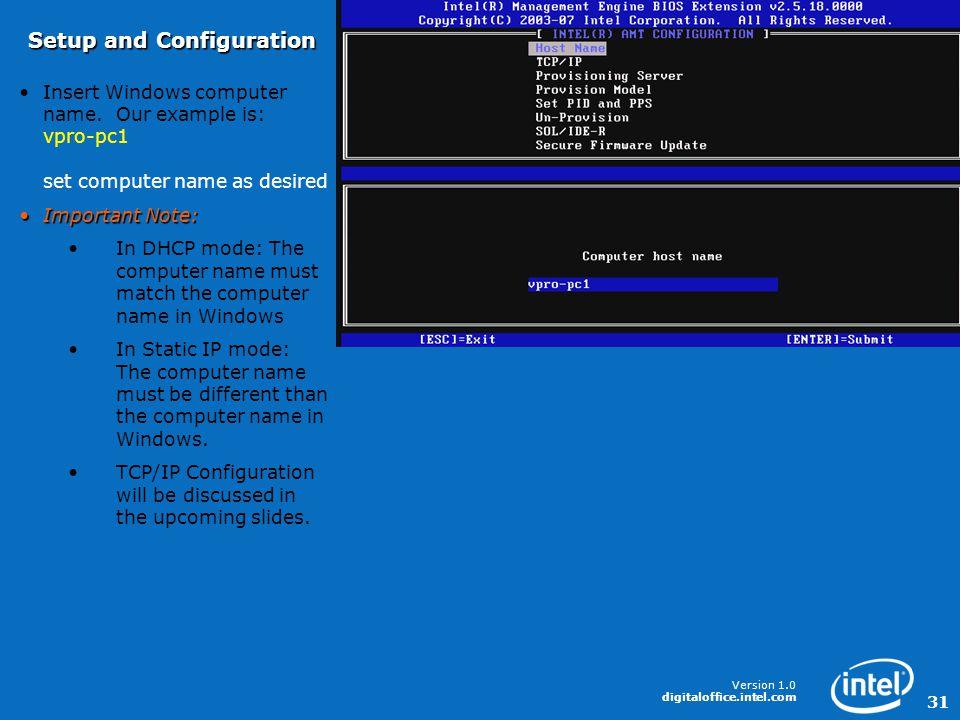 Version 1.0 digitaloffice.intel.com 31 Insert Windows computer name.