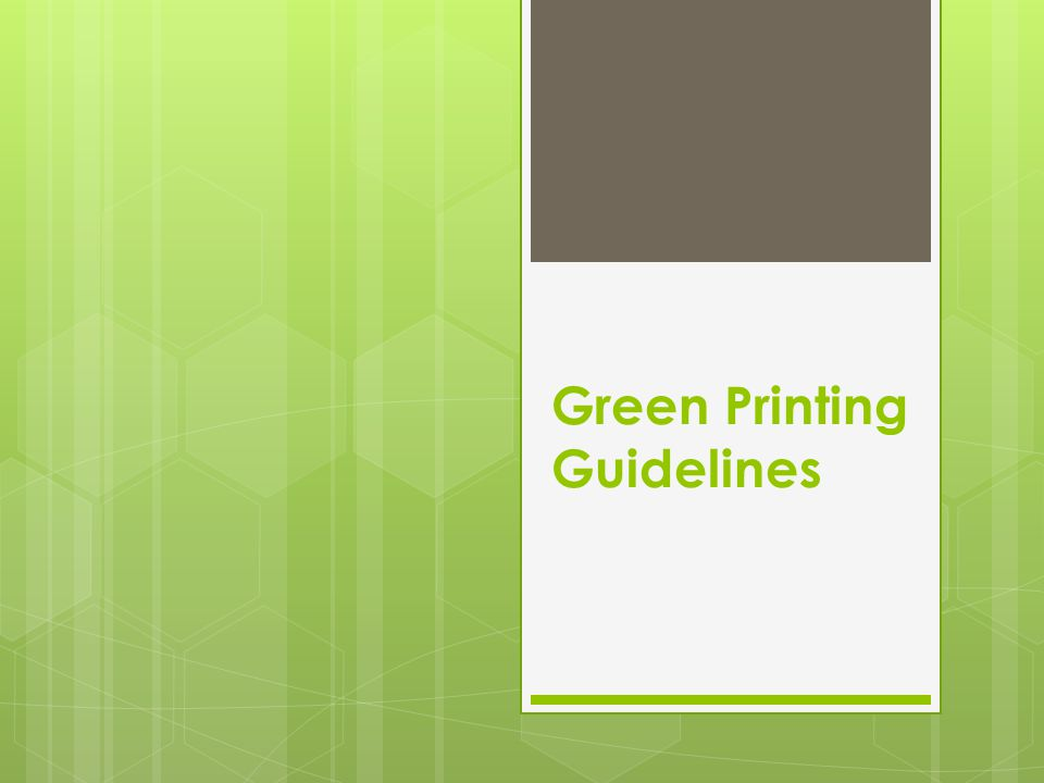 Green Printing Guidelines