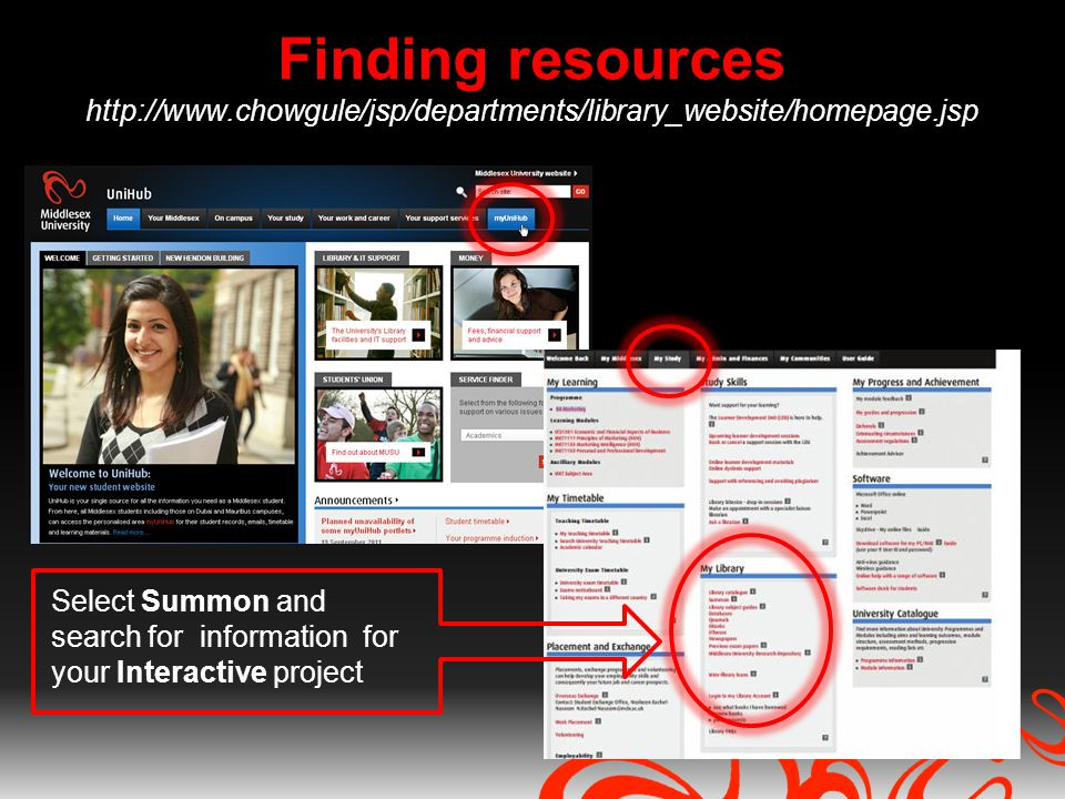 Finding resources http://www.chowgule/jsp/departments/library_website/homepage.jsp Select Summon and search for information for your Interactive proje