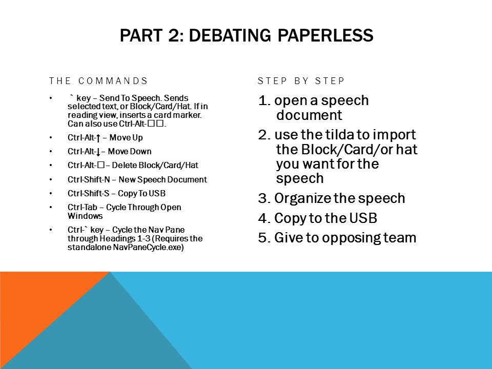 PART 2: DEBATING PAPERLESS THE COMMANDS ` key – Send To Speech.