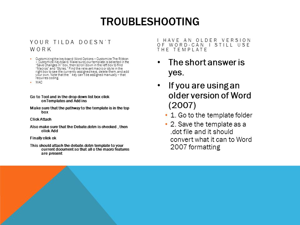 TROUBLESHOOTING YOUR TILDA DOESNT WORK Customizing the keyboard: Word Options – Customize The Ribbon – Customize Keyboard.