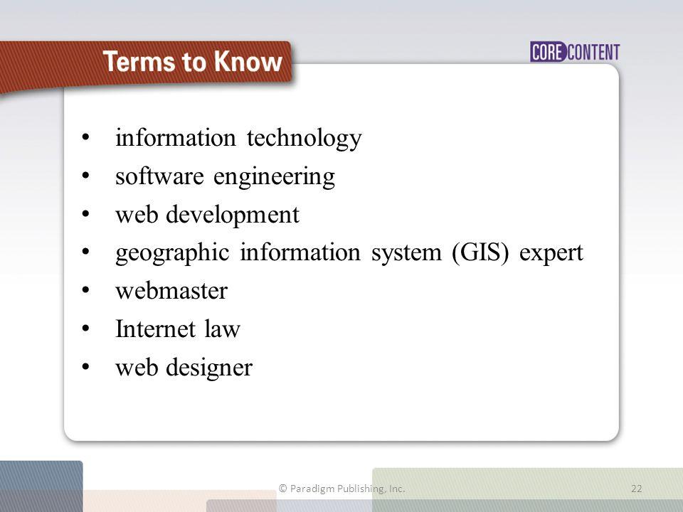 information technology software engineering web development geographic information system (GIS) expert webmaster Internet law web designer © Paradigm