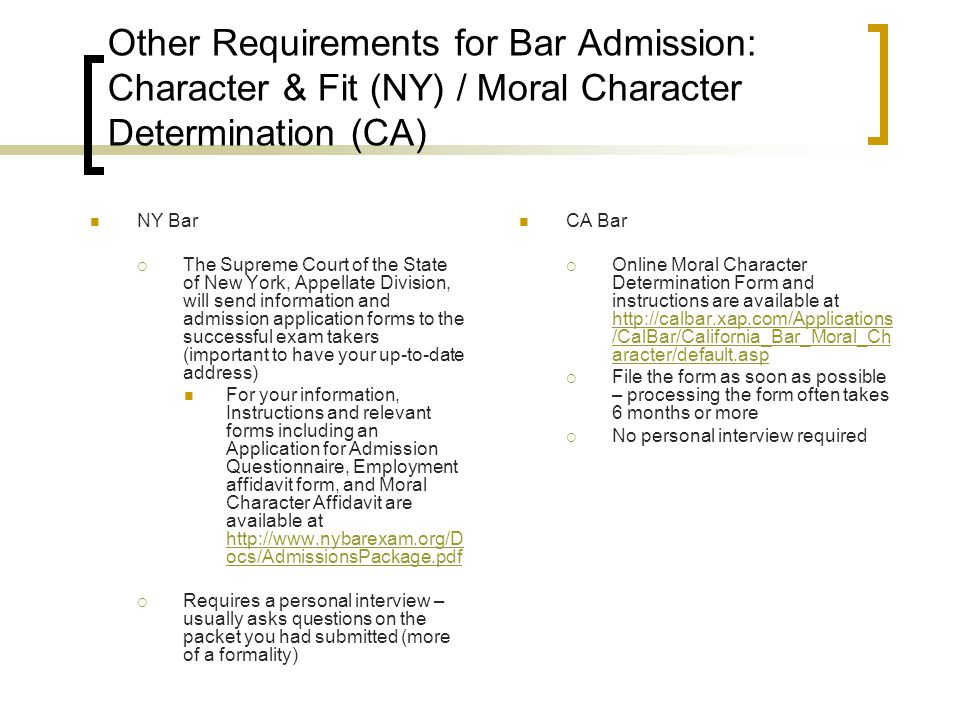 Past Bar Exam Questions & Sample Answers Sample MBE questions www.ncbex.org/uploads/user_docrepos/MBE_ib_101110.pdf (pages 25 - 35) www.ncbex.org/uploads/user_docrepos/MBE_ib_101110.pdf Past NY bar exam essay questions and sample answers are available at www.nybarexam.org/ExamQuestions/ExamQuestions.htm Past CA bar exam questions and sample essay answers are available at http://admissions.calbar.ca.gov/Examinations/PastExams.aspx