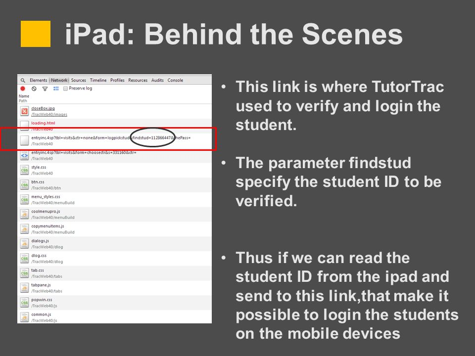 iPad: Behind the Scenes This link is where TutorTrac used to verify and login the student.