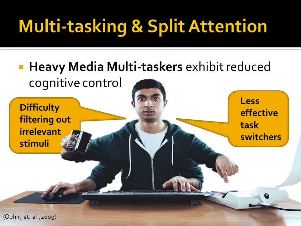Heavy Media Multi-taskers exhibit reduced cognitive control Difficulty filtering out irrelevant stimuli Less effective task switchers (Ophir, et.