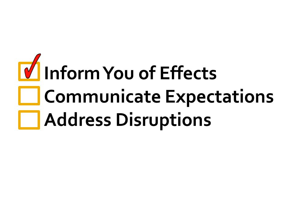 Inform You of Effects Communicate Expectations Address Disruptions