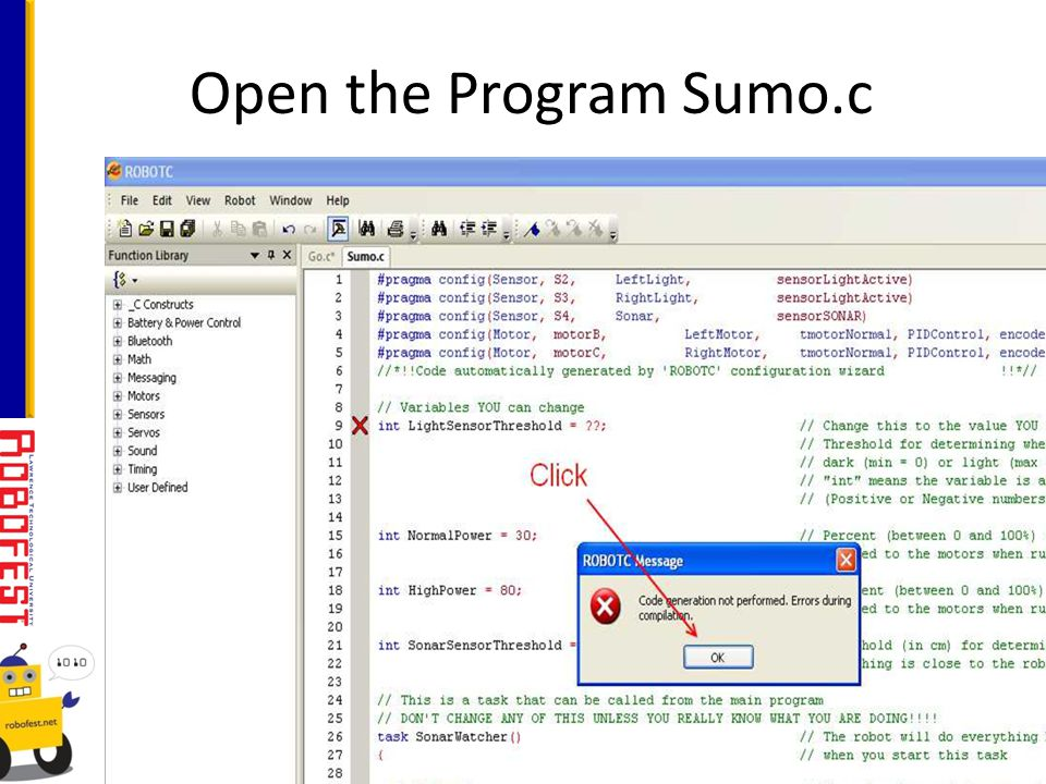 Open the Program Sumo.c