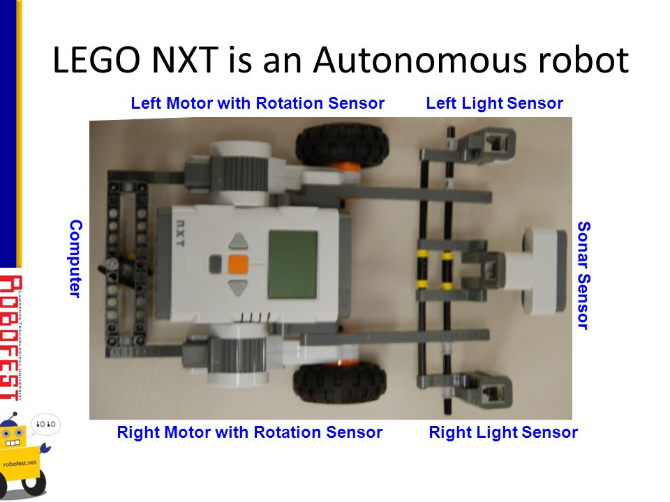LEGO NXT is an Autonomous robot Left Motor with Rotation SensorLeft Light Sensor Computer Right Light SensorRight Motor with Rotation Sensor Sonar Sensor