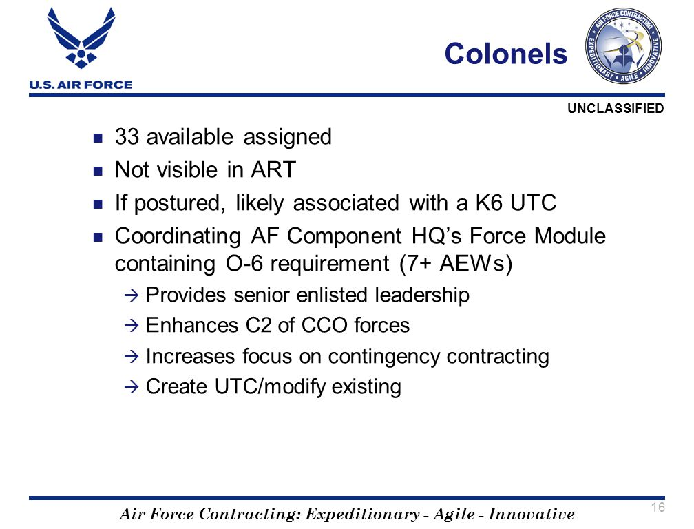 Air Force Contracting: Expeditionary - Agile - Innovative UNCLASSIFIED 16 Colonels 33 available assigned Not visible in ART If postured, likely associ