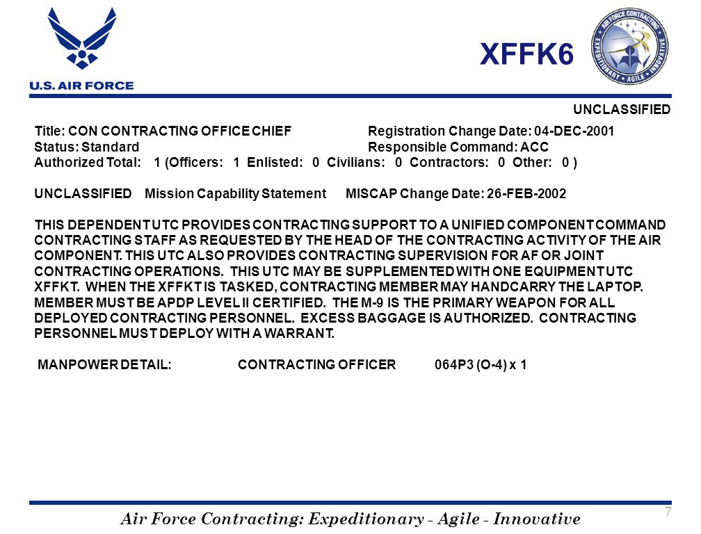 Air Force Contracting: Expeditionary - Agile - Innovative UNCLASSIFIED 7 XFFK6 Title: CON CONTRACTING OFFICE CHIEF Registration Change Date: 04-DEC-20