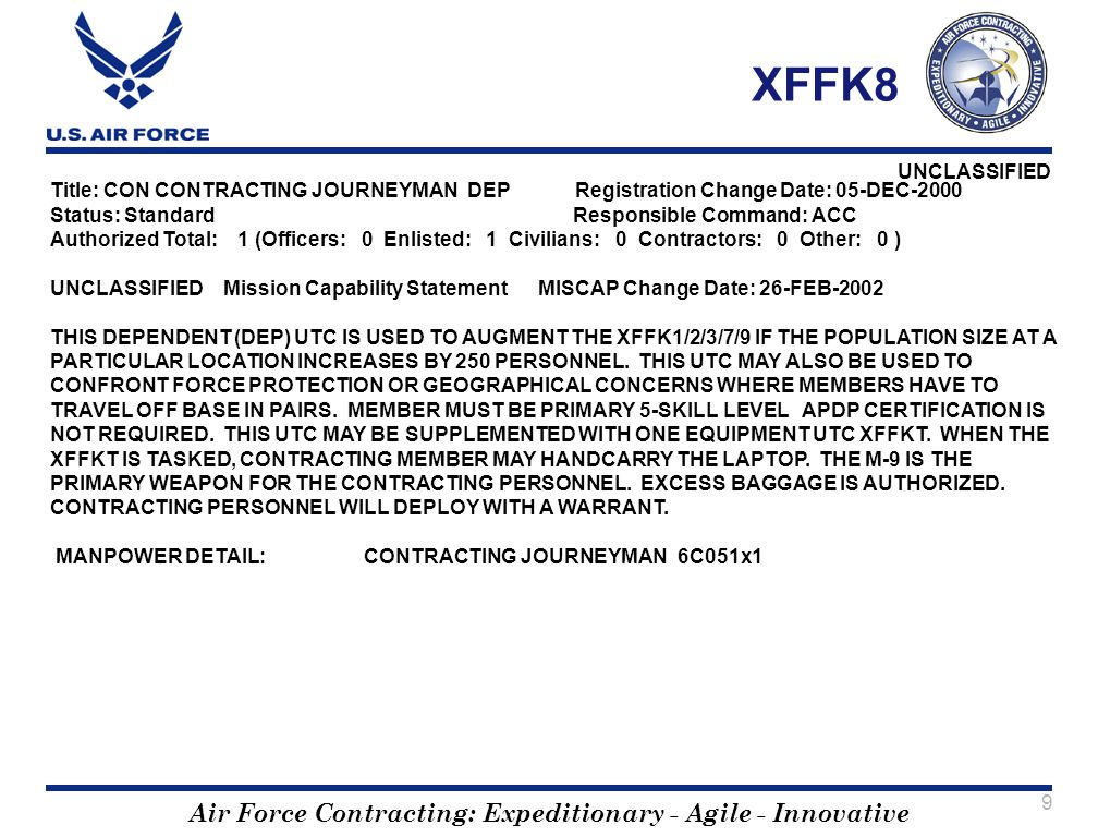 Air Force Contracting: Expeditionary - Agile - Innovative UNCLASSIFIED 9 XFFK8 Title: CON CONTRACTING JOURNEYMAN DEP Registration Change Date: 05-DEC-