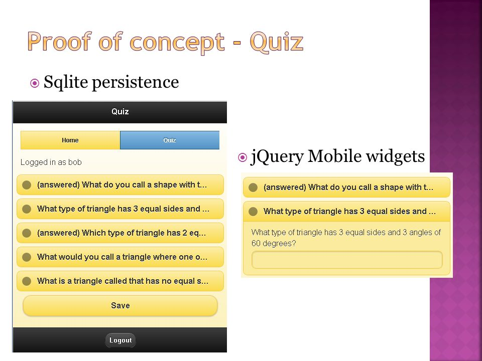 Sqlite persistence jQuery Mobile widgets