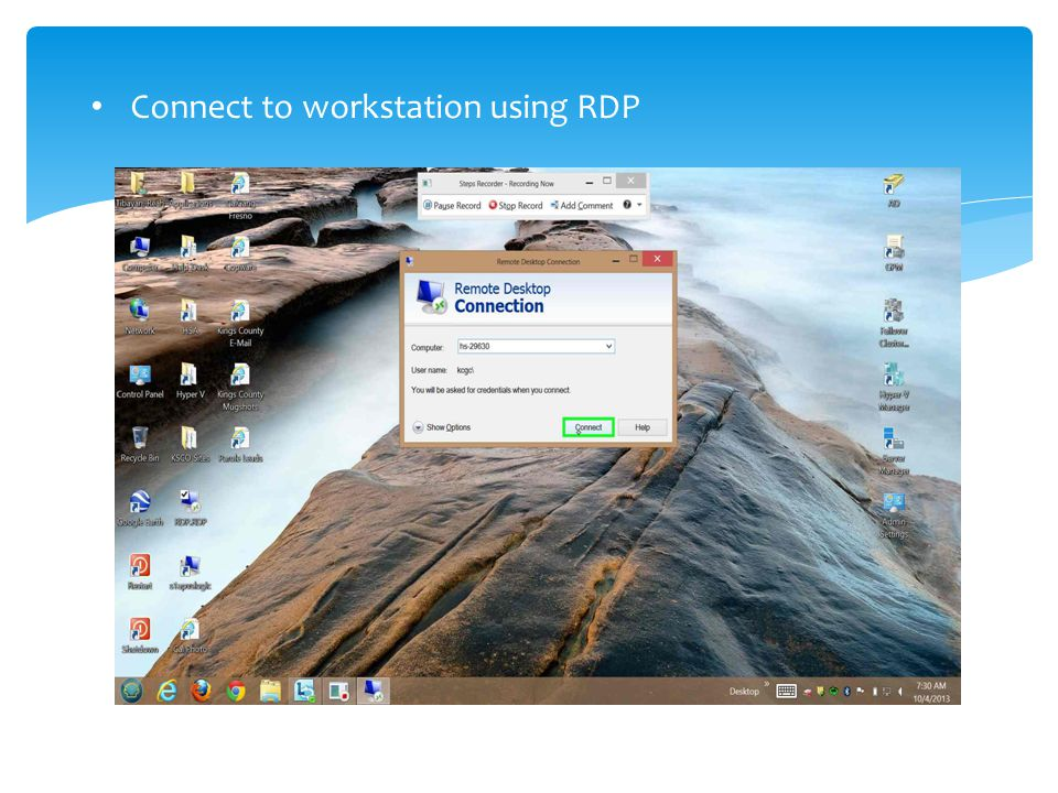 Connect to workstation using RDP