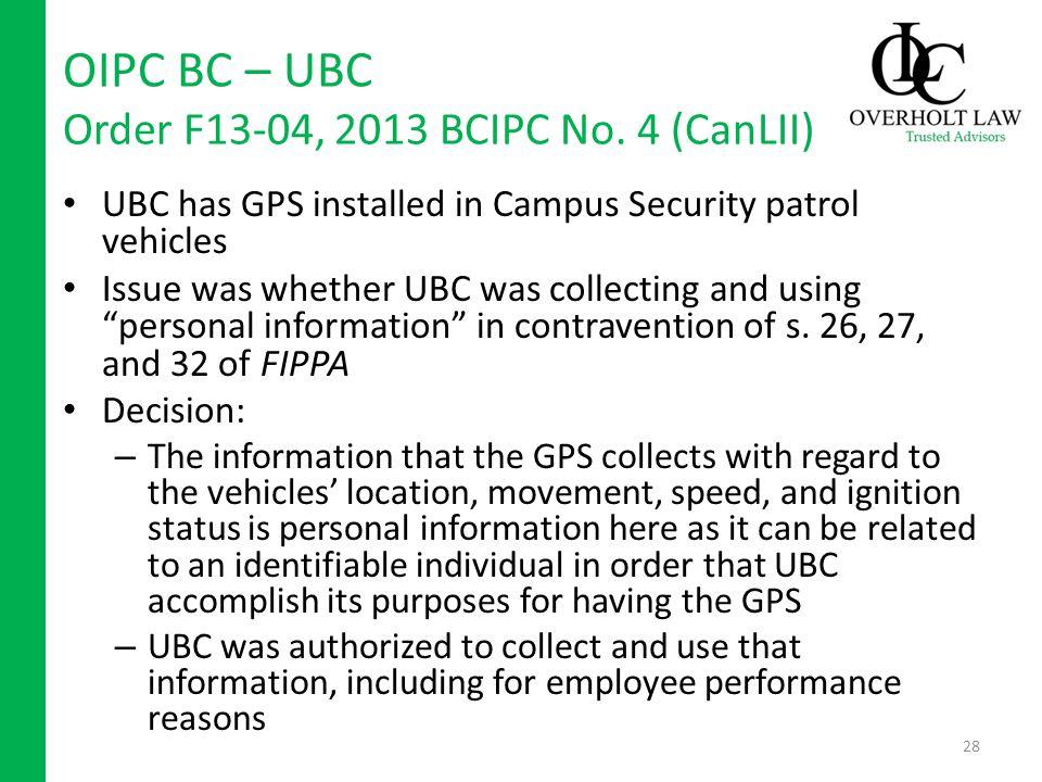 OIPC BC – UBC Order F13-04, 2013 BCIPC No.