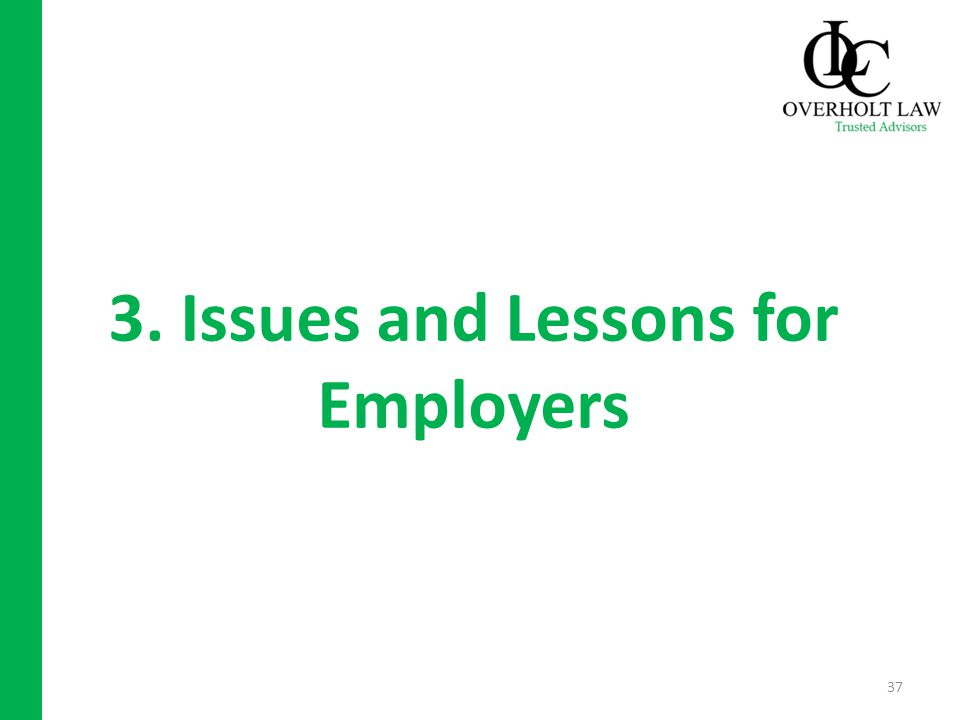 3. Issues and Lessons for Employers 37