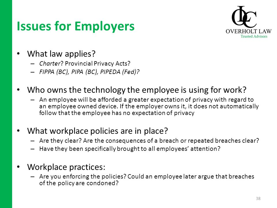 Issues for Employers What law applies. – Charter.