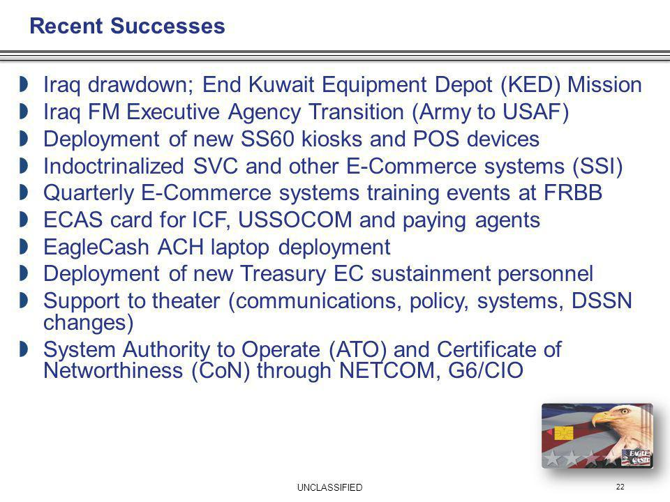 22 Iraq drawdown; End Kuwait Equipment Depot (KED) Mission Iraq FM Executive Agency Transition (Army to USAF) Deployment of new SS60 kiosks and POS de