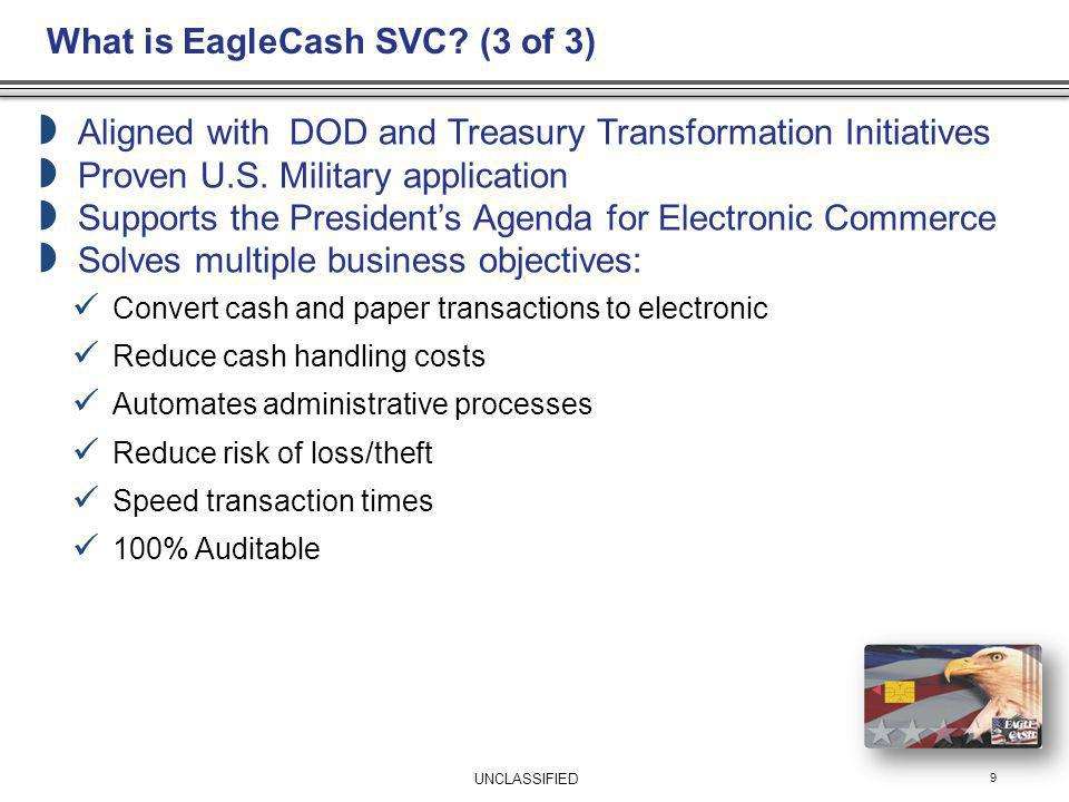 EagleCash Capabilities: Self Service Kiosk 10 Finance Office/SRP/Mob sites issue cards, load PIN and financial institution information on card for use with Kiosks: Provides fee-free access to funds in US accounts Enables funds transfer from US account to card; $350 per day Enables funds transfer from card to US account Enables funds transfer from card to card Enables view of card balance and last ten transactions Provides increased convenience and security UNCLASSIFIED