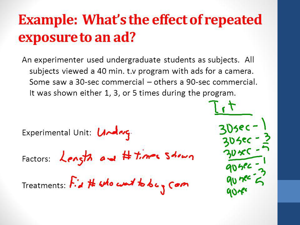 Example: Whats the effect of repeated exposure to an ad.