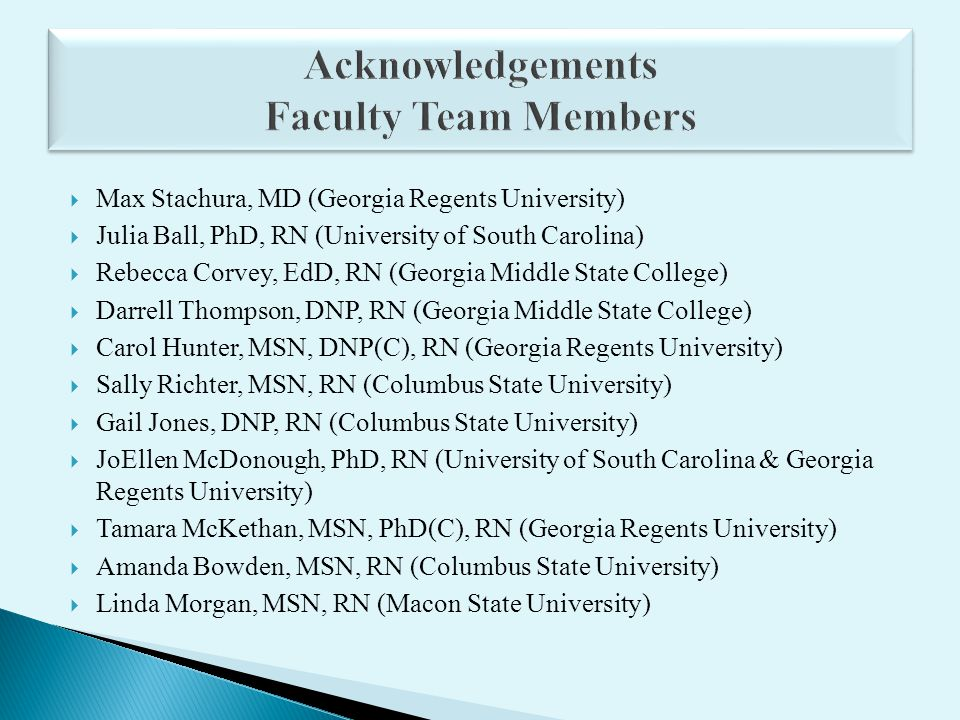 Max Stachura, MD (Georgia Regents University) Julia Ball, PhD, RN (University of South Carolina) Rebecca Corvey, EdD, RN (Georgia Middle State College