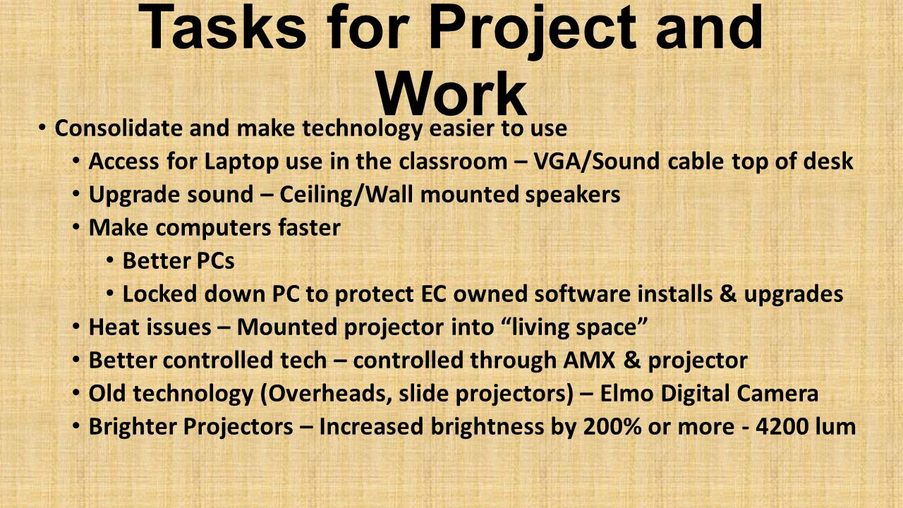 Tasks for Project and Work Consolidate and make technology easier to use Access for Laptop use in the classroom – VGA/Sound cable top of desk Upgrade