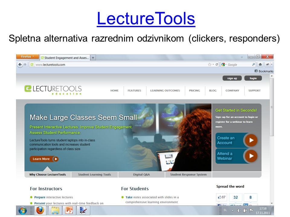 LectureTools Spletna alternativa razrednim odzivnikom (clickers, responders)