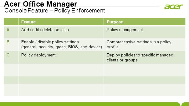 Acer Office Manager Console Feature – Policy Enforcement FeaturePurpose AAdd / edit / delete policiesPolicy management BEnable / disable policy settin