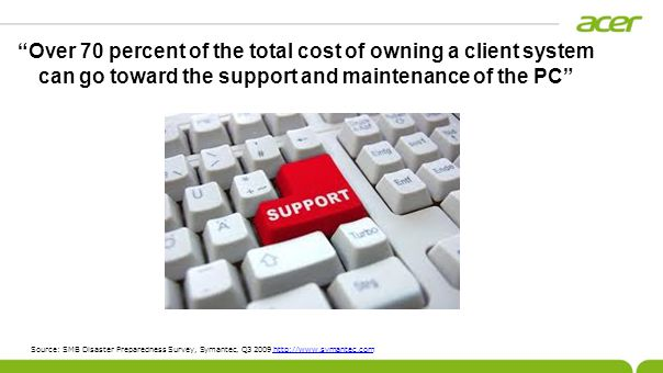Over 70 percent of the total cost of owning a client system can go toward the support and maintenance of the PC Source: SMB Disaster Preparedness Surv