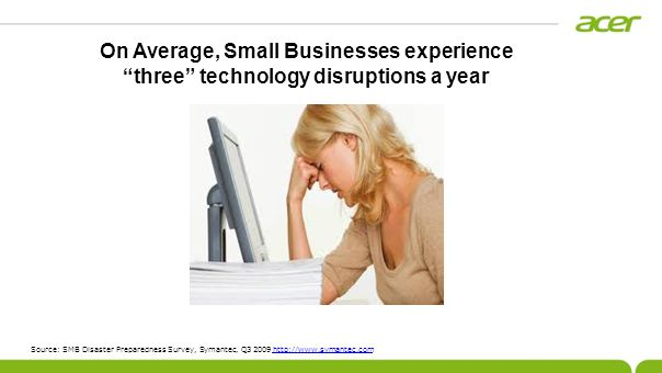 Source: SMB Disaster Preparedness Survey, Symantec, Q3 2009 http://www.symantec.comhttp://www.symantec.com On Average, Small Businesses experience three technology disruptions a year