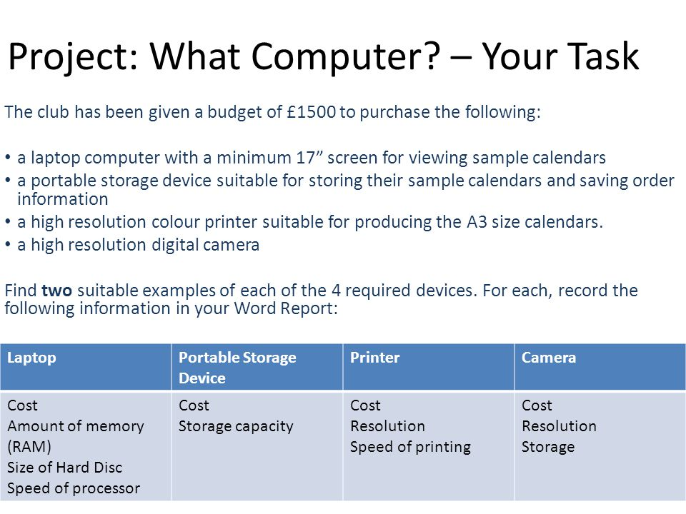 Project: What Computer? – Your Task The club has been given a budget of £1500 to purchase the following: a laptop computer with a minimum 17 screen fo