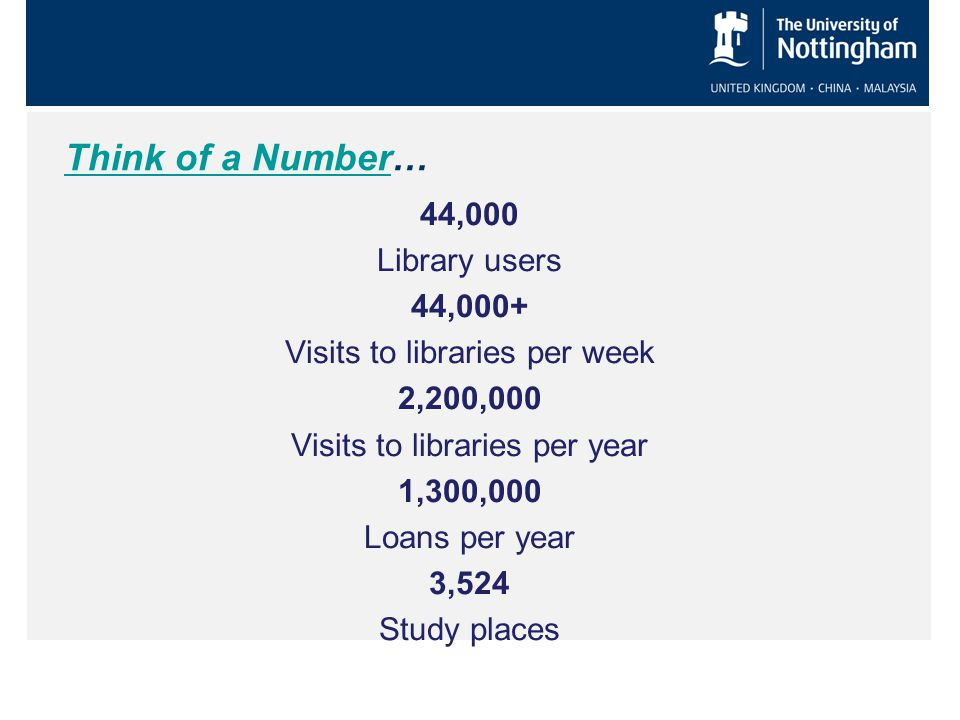 Think of a NumberThink of a Number… 44,000 Library users 44,000+ Visits to libraries per week 2,200,000 Visits to libraries per year 1,300,000 Loans per year 3,524 Study places
