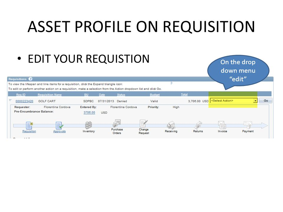 ASSET PROFILE ON REQUISITION EDIT YOUR REQUISTION On the drop down menu edit