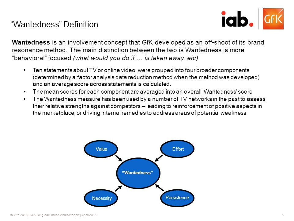 © GfK 2013 | IAB Original Online Video Report | April 20136 Wantedness Definition Wantedness is an involvement concept that GfK developed as an off-sh