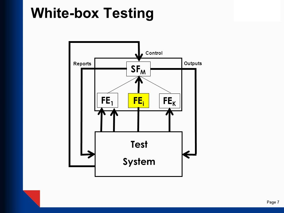 White-box Testing SF M FE i FE 1 FE K Control Test System Outputs Reports Page 7