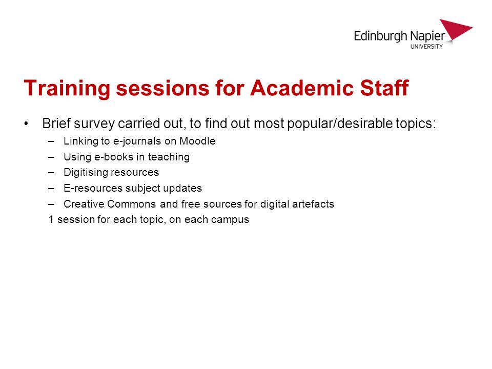 Training sessions for Academic Staff Brief survey carried out, to find out most popular/desirable topics: –Linking to e-journals on Moodle –Using e-books in teaching –Digitising resources –E-resources subject updates –Creative Commons and free sources for digital artefacts 1 session for each topic, on each campus