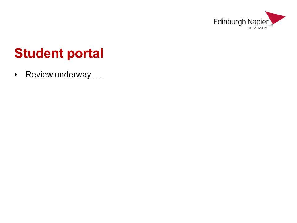 Student portal Review underway ….