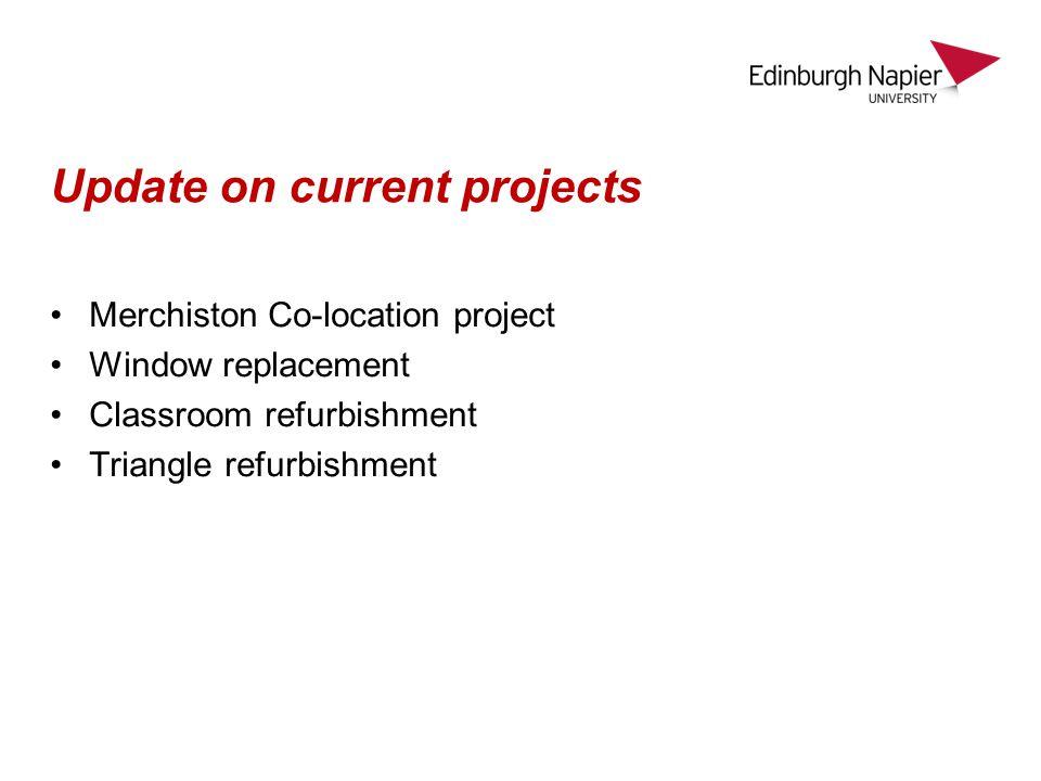 Update on current projects Merchiston Co-location project Window replacement Classroom refurbishment Triangle refurbishment