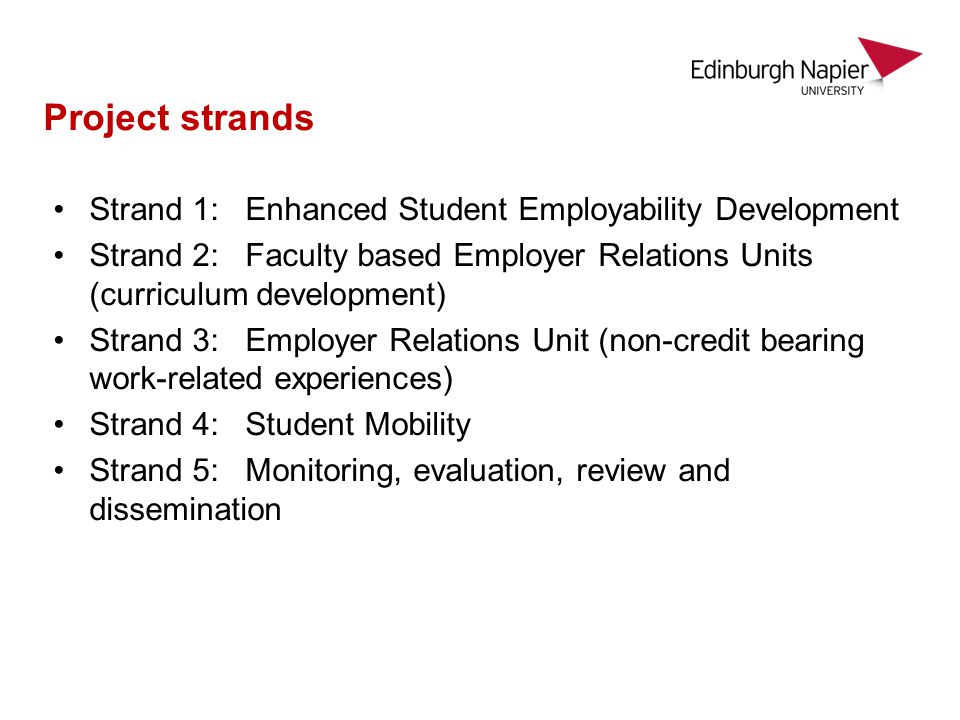 Project strands Strand 1: Enhanced Student Employability Development Strand 2: Faculty based Employer Relations Units (curriculum development) Strand 3: Employer Relations Unit (non-credit bearing work-related experiences) Strand 4: Student Mobility Strand 5: Monitoring, evaluation, review and dissemination