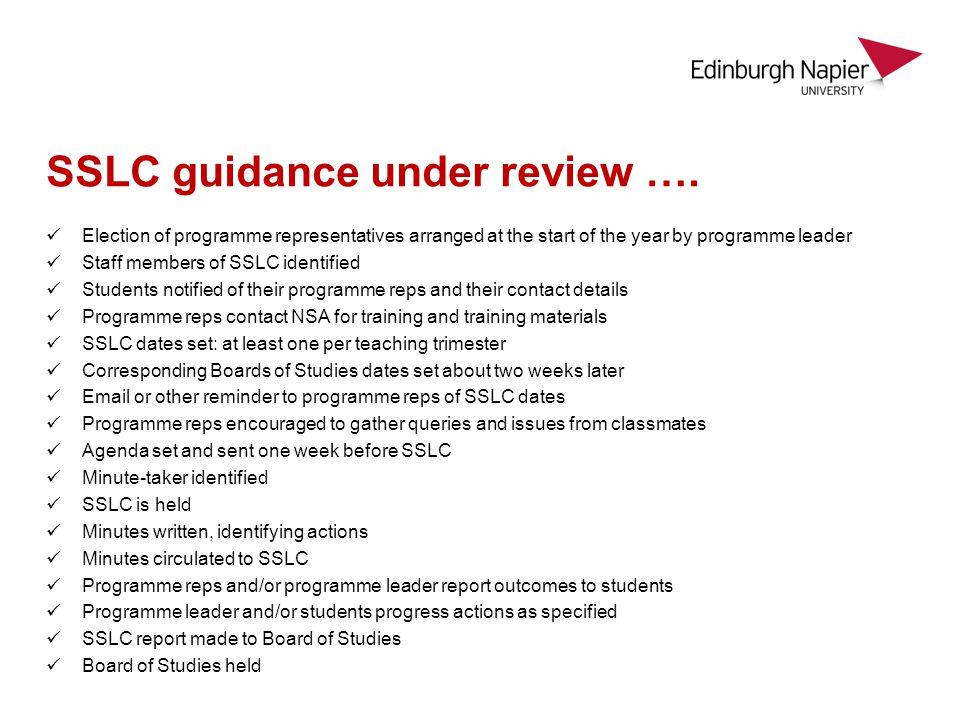 SSLC guidance under review ….