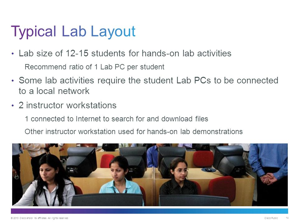 © 2013 Cisco and/or its affiliates. All rights reserved. Cisco Public 14 Lab size of 12-15 students for hands-on lab activities Recommend ratio of 1 L