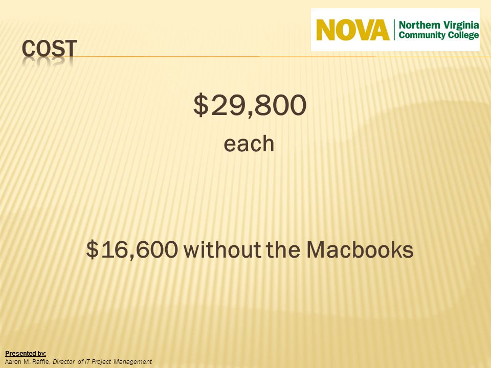 $29,800 each $16,600 without the Macbooks Presented by: Aaron M. Raffle, Director of IT Project Management