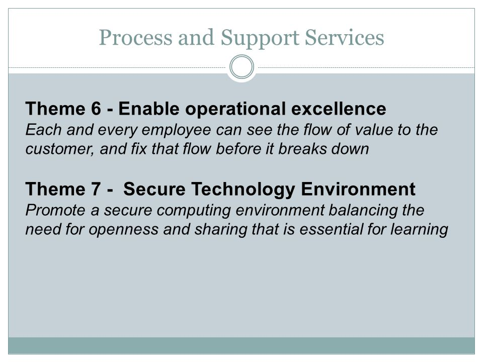 Theme 6 - Enable operational excellence Each and every employee can see the flow of value to the customer, and fix that flow before it breaks down The