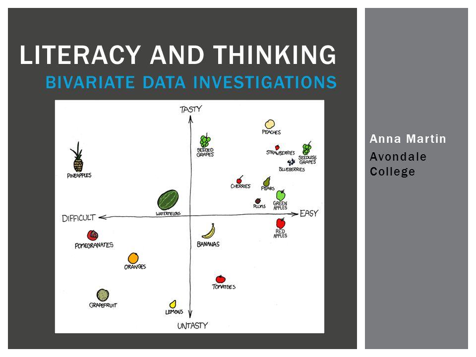 Anna Martin Avondale College LITERACY AND THINKING BIVARIATE DATA INVESTIGATIONS