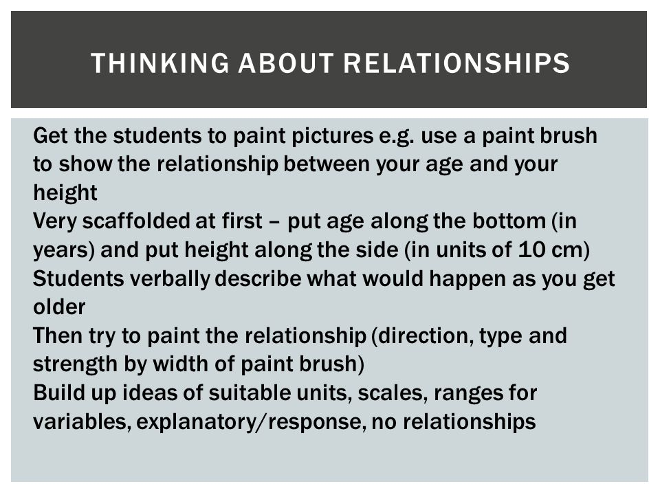 THINKING ABOUT RELATIONSHIPS Get the students to paint pictures e.g. use a paint brush to show the relationship between your age and your height Very